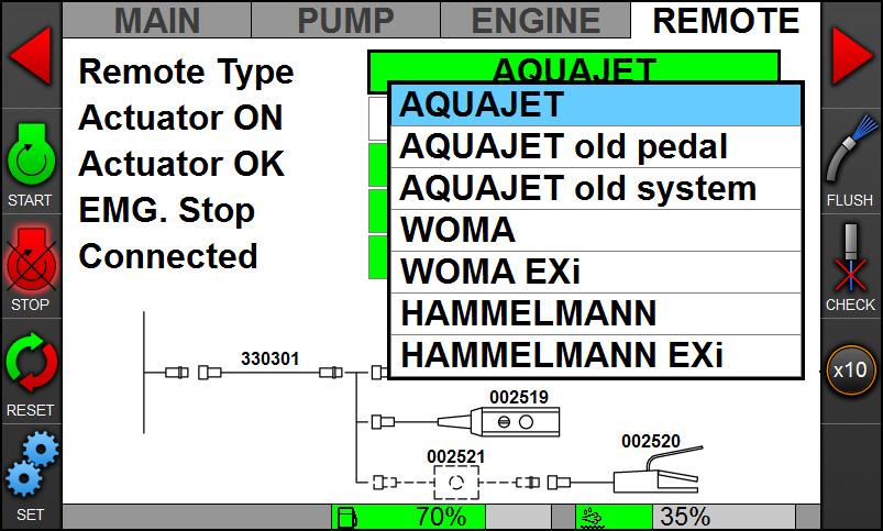 Revo control system - Remote menu