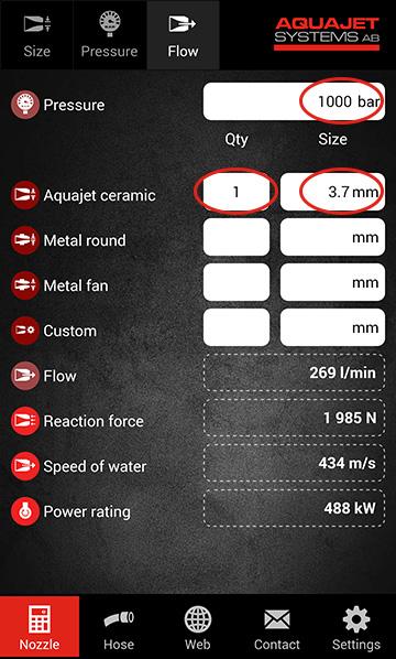 Aquajet app calculate flow