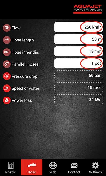 Aquajet app calculate hose