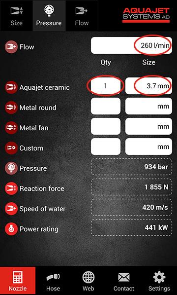 Aquajet app calculate pressure
