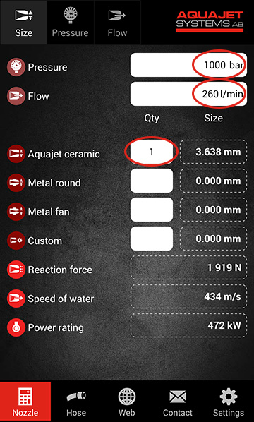 Aquajet app calculate size