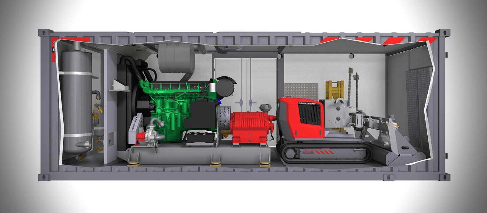 Aqua Cutter Hydrodemolition Robot Inside Power Pack