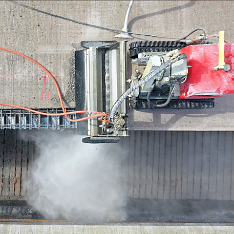 on location aquajet hydrodemolition rampart aqua cutter 410 710 robot concrete repair